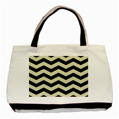 Chevron3 Black Marble & Beige Linen Basic Tote Bag (two Sides) by trendistuff