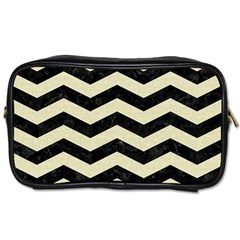 Chevron3 Black Marble & Beige Linen Toiletries Bags 2 Side by trendistuff