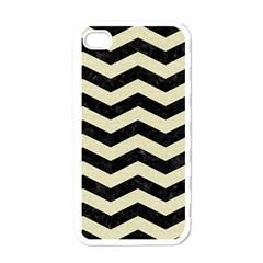 Chevron3 Black Marble & Beige Linen Apple Iphone 4 Case (white) by trendistuff