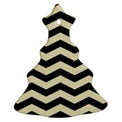 Chevron3 Black Marble & Beige Linen Christmas Tree Ornament (two Sides) by trendistuff