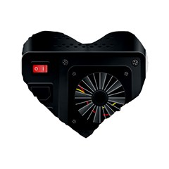 Special Black Power Supply Computer Standard 16  Premium Heart Shape Cushions