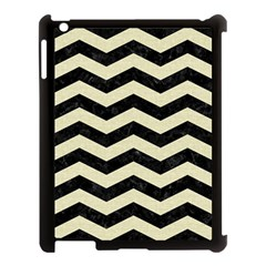 Chevron3 Black Marble & Beige Linen Apple Ipad 3/4 Case (black) by trendistuff