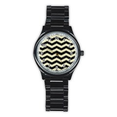Chevron3 Black Marble & Beige Linen Stainless Steel Round Watch by trendistuff