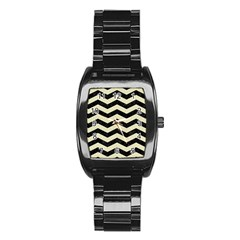 Chevron3 Black Marble & Beige Linen Stainless Steel Barrel Watch by trendistuff