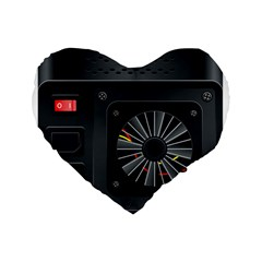 Special Black Power Supply Computer Standard 16  Premium Flano Heart Shape Cushions by BangZart