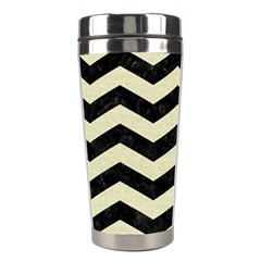 Chevron3 Black Marble & Beige Linen Stainless Steel Travel Tumblers by trendistuff
