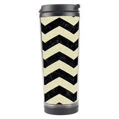 Chevron3 Black Marble & Beige Linen Travel Tumbler by trendistuff
