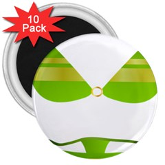 Green Swimsuit 3  Magnets (10 Pack)