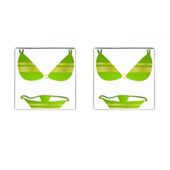 Green Swimsuit Cufflinks (square) by BangZart
