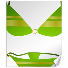 Green Swimsuit Canvas 8  X 10