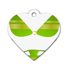 Green Swimsuit Dog Tag Heart (one Side)