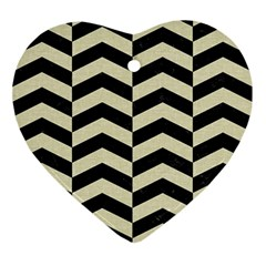 Chevron2 Black Marble & Beige Linen Ornament (heart) by trendistuff