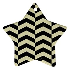 Chevron2 Black Marble & Beige Linen Ornament (star) by trendistuff