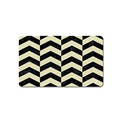Chevron2 Black Marble & Beige Linen Magnet (name Card) by trendistuff