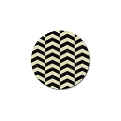 Chevron2 Black Marble & Beige Linen Golf Ball Marker (4 Pack) by trendistuff