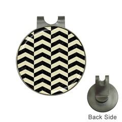 Chevron2 Black Marble & Beige Linen Hat Clips With Golf Markers by trendistuff