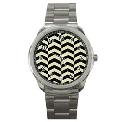 Chevron2 Black Marble & Beige Linen Sport Metal Watch by trendistuff