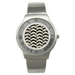 Chevron2 Black Marble & Beige Linen Stainless Steel Watch by trendistuff