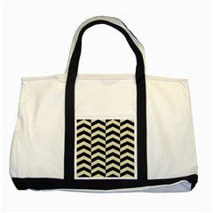 Chevron2 Black Marble & Beige Linen Two Tone Tote Bag by trendistuff