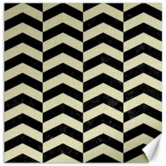 Chevron2 Black Marble & Beige Linen Canvas 12  X 12   by trendistuff