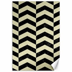 Chevron2 Black Marble & Beige Linen Canvas 12  X 18   by trendistuff