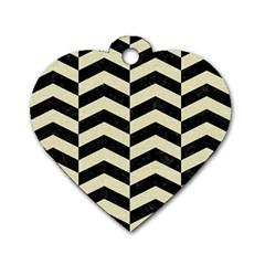Chevron2 Black Marble & Beige Linen Dog Tag Heart (one Side) by trendistuff