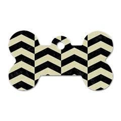 Chevron2 Black Marble & Beige Linen Dog Tag Bone (two Sides) by trendistuff