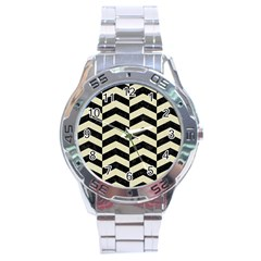 Chevron2 Black Marble & Beige Linen Stainless Steel Analogue Watch by trendistuff