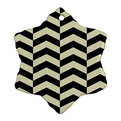 Chevron2 Black Marble & Beige Linen Snowflake Ornament (two Sides) by trendistuff