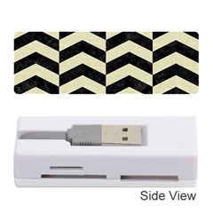 Chevron2 Black Marble & Beige Linen Memory Card Reader (stick)  by trendistuff