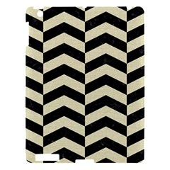 Chevron2 Black Marble & Beige Linen Apple Ipad 3/4 Hardshell Case by trendistuff