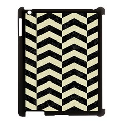 Chevron2 Black Marble & Beige Linen Apple Ipad 3/4 Case (black) by trendistuff
