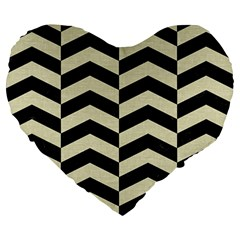 Chevron2 Black Marble & Beige Linen Large 19  Premium Heart Shape Cushions by trendistuff