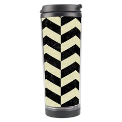 Chevron2 Black Marble & Beige Linen Travel Tumbler by trendistuff