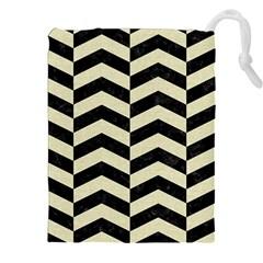 Chevron2 Black Marble & Beige Linen Drawstring Pouches (xxl) by trendistuff