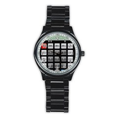 Calculator Stainless Steel Round Watch by BangZart