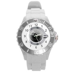 White Washing Machine Round Plastic Sport Watch (l)