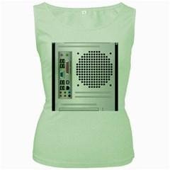 Standard Computer Case Back Women s Green Tank Top