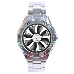 12v Computer Fan Stainless Steel Analogue Watch by BangZart