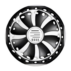 12v Computer Fan Round Filigree Ornament (two Sides)