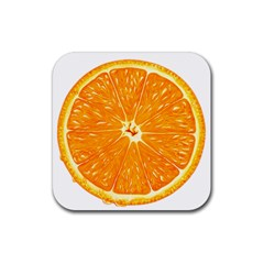 Orange Slice Rubber Square Coaster (4 Pack)  by BangZart