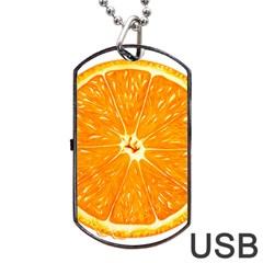 Orange Slice Dog Tag Usb Flash (one Side) by BangZart