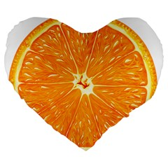 Orange Slice Large 19  Premium Flano Heart Shape Cushions by BangZart