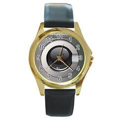 Washing Machine Round Gold Metal Watch