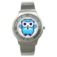 Owl Logo Clip Art Stainless Steel Watch by BangZart