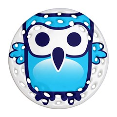 Owl Logo Clip Art Ornament (round Filigree)