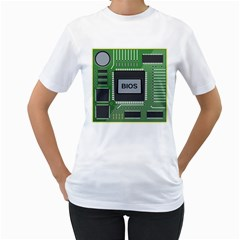 Computer Bios Board Women s T Shirt (white) (two Sided)
