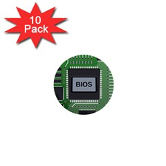 Computer Bios Board 1  Mini Buttons (10 Pack)