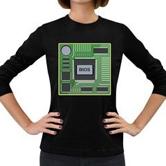 Computer Bios Board Women s Long Sleeve Dark T Shirts