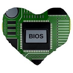 Computer Bios Board Large 19  Premium Heart Shape Cushions by BangZart
